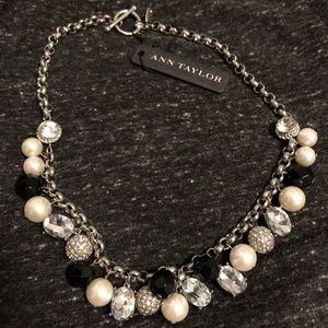 NWT Ann Taylor faux pearl, rhinestone necklace